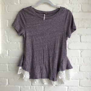Free people purple & lace T-shirt medium